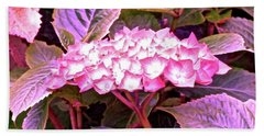 Pink Hydrangea Hand Towel by Stephanie Moore