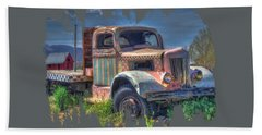 Classic Flatbed Truck In Pink Bath Towel