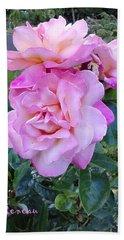 Pink-lavender Rose Trio Bath Towel by Sadie Reneau