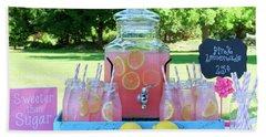 Pink Lemonade At Picnic In Park Hand Towel