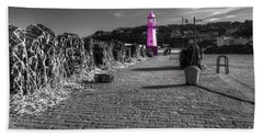 Pink Lighthouse Of St Ives Bath Towel