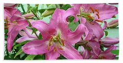 Pink Lilies Bath Towel by Jay Milo