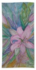 Pink Lily- Painting Hand Towel by Veronica Rickard