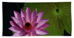 Pink Lotus Hand Towel by Evelyn Tambour