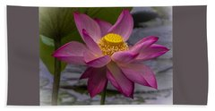 Pink Lotus In Vietnam Bath Towel