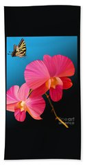 Hand Towel featuring the painting Pink Lux Butterfly by Rand Herron