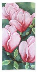 Pink Magnolia Blooms Hand Towel