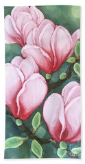 Pink Magnolia Blooms Bath Towel