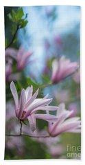 Pink Magnolia Blooms Peaceful Hand Towel by Mike Reid