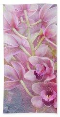 Pink Orchids Bath Towel by Ann Bridges
