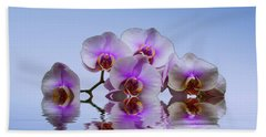 Pink Orchids Blue Background Bath Towel by David French