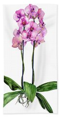Hand Towel featuring the painting Pink Orchids by Heidi Kriel