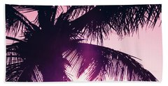 Bath Towel featuring the photograph Pink Palm Tree Silhouettes Kihei Tropical Nights by Sharon Mau