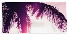 Hand Towel featuring the photograph Pink Palm Tree Silhouettes Kihei Tropical Nights by Sharon Mau