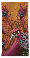 Bath Towel featuring the painting Pink Peacock by Leah Saulnier The Painting Maniac