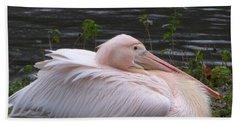 Pink Pelican Bath Towel by Margaret Brooks