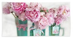 Bath Towel featuring the photograph Pink Peonies In Aqua Vases Romantic Watercolor Print - Pink Peony Home Decor Wall Art by Kathy Fornal