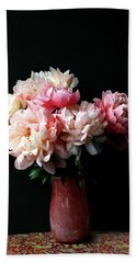 Pink Peonies In Pink Vase Bath Towel