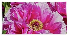 Hand Towel featuring the photograph Pink Peony by Joan Reese