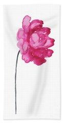 Pink Peony, Nursery Decor Wall Art Print, Abstract Illustration Bath Towel