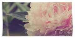 Hand Towel featuring the photograph Pink Peony Vintage Style by Edward Fielding