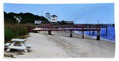 Pink Pier Southport, North Carolina Bath Towel