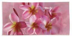 Hand Towel featuring the photograph Pink Plumeria Pastel By Kaye Menner by Kaye Menner
