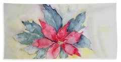 Pink Poinsetta On Blue Foliage Bath Towel