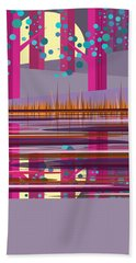 Pink Pond Bath Towel by Val Arie