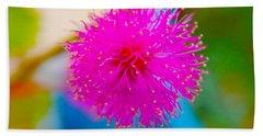 Pink Puff Flower Hand Towel
