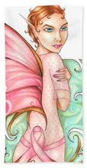 Pink Ribbon Fairy For Breast Cancer Awareness Hand Towel