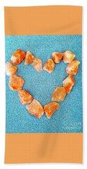 Pink Rocks Heart Hand Towel