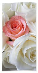 Pink Rose Among White Roses Hand Towel