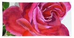 Pink Rose Close Up Watercolor Bath Towel