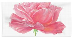 Pink Rose Bath Towel by Elizabeth Lock