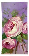 Pink Rose Hand Towel by Janet Garcia