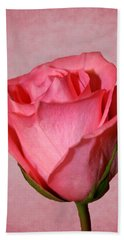 Bath Towel featuring the photograph Pink Rose by Judy Vincent
