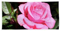 Pink Rose Bath Towel by Ronda Ryan