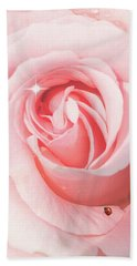 Pink Rose With Rain Drops Hand Towel