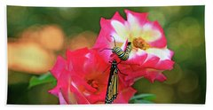 Pink Roses And Butterfly Photo Bath Towel
