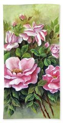 Pink Roses Bath Towel by Katia Aho