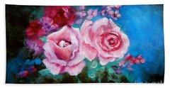 Pink Roses On Blue Hand Towel by Jenny Lee