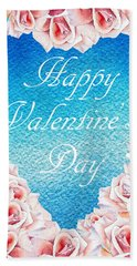 Pink Roses Valentine Hand Towel
