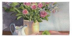Pink Roses Hand Towel by Vikki Bouffard