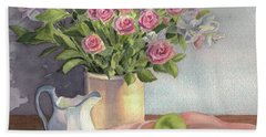 Bath Towel featuring the painting Pink Roses by Vikki Bouffard