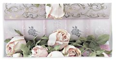 Hand Towel featuring the photograph Pink Shabby Chic Roses On Pink Cottage Books - Shabby Cottage Pink Roses Home Decor by Kathy Fornal