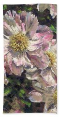 Pink Single Peonies Hand Towel