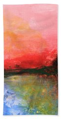Pink Sky Over Water Abstract Bath Towel