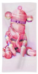 Pink Sock Monkey Hand Towel by Jane Schnetlage