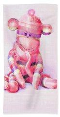 Pink Sock Monkey Bath Towel by Jane Schnetlage